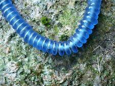 Strang Altglasperlen polierte Scheiben blau - Recycled Glass Beads Ghana Krobo