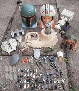 Huge lot of Star Wars Micro Machine ships, figures, playset heads, & creatures