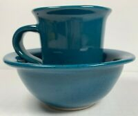 "Handmade Pottery Stoneware Mug and Bowl Set Signed ""mh"" - Beautiful green/blue"
