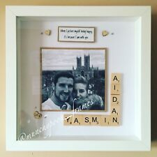 Personalised Handmade Couple Valentines Frame Scrabble Photograph Boyfriend