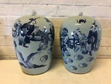 Antique Chinese Qing Dynasty Pair of Covered Ginger Jars Vases Figures Bats Dec.