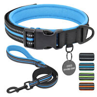 Reflective Personalised Dog Collar and Lead Leash Custom ID Name Tag Engraved