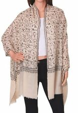 100% Cashmere Sacrf Pure Pashmina Black & White Hand Embroidered Winter luxury