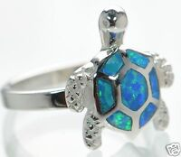 Solid 925 Sterling Silver Blue Opal Turtle Ring Size 6