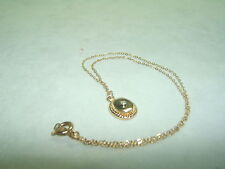 Vintage 14K Gold Filled Necklace With Oval Pendant W/Diamond Chip
