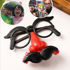 Funny Clown GlaSPes Costume Ball Round Frame Red Nose w/Whistle Mustache T SP