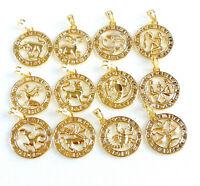 ROUND PENDANT Virgo Gemini Scorpio 12 Zodiac STAR SUN SIGN 14K Gold Plated UK