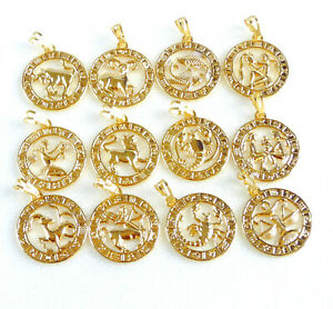 14K Gold Plated ROUND PENDANT 12 Zodiac STAR SUN SIGN Aquarius Cancer Scorpio UK