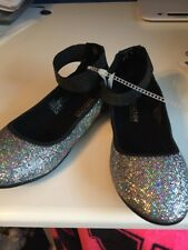 NWT - Girls Kenneth Cole Reaction, Silver Sequin, Tap Ballet Flats, Size 1