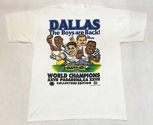 Vintage Flint River Tees NFL XXVII Dallas Cowboys Caricature T-Shirt White L USA