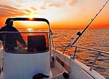 LED Leuchtbild Hochseefischen im Sonnenuntergang Fischer auf Boot mit Leuchte