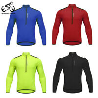 Mens Cycling Jersey MTB Long Sleeve Tops Half Zipper Bicycle Shirts Hiking Sport