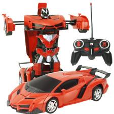 Jouet d'enfant robot de déformation transformateur voiture télécommandé Rouge