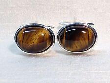 Gemstone Silver Plated Oval Cufflinks for Men