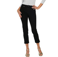 Isaac Mizrahi Live! 24/7 Denim Fly Front Ankle Jeans Color Black Size Reg.12