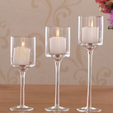 3PCS Glass Candle stick Tea Light Candle Holders Wedding Centrepiece UK