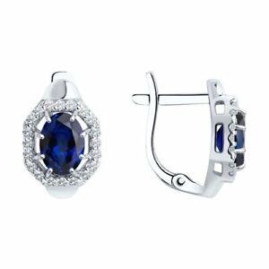 Ohrringe 925 Sterlingsilber Damen Ohrschmuck Saphir blau Rhod. Neu Eliteschmuck