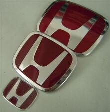 3PCS NEW JDM Red H Front Rear Steering Wheel Emblem For 06-15 HONDA CIVIC SEDAN