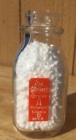 Miller Dairy Orange Pyro Half Pint Milk Bottle, Cambridge City, Indiana