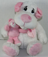 The Petting Zoo WHITE AND PINK SAD DOG Holding TEDDY BEAR Stuffed Plush CUTE TOY