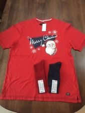 M&S North Coast Christmas Lounge T-Shirt. Size Large & 2 Pairs of Uniqlo Socks