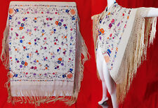 Antique White Silk Pastel Floral Embroidery Canton Manton de Manila Piano Shawl