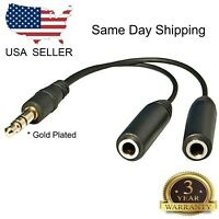 "6"" 1 Male to 2 Female Gold Plated 3.5mm Audio Y Splitter Headphone Cable Black"