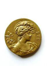 Jugendstil Gürtelschnalle aus vergoldetem Metall, Ch. Pillet, nicht signiert