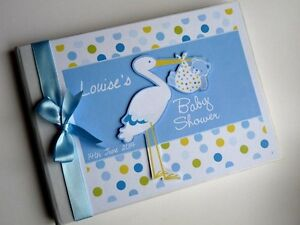 Personalised stork boys baby shower guest book, new baby boy album, gift