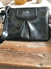 Small Coach Madison Pewter Metallic Pleated Patent Leather Wristlet~NICE