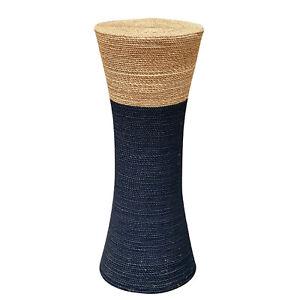 Vintage Boho Natural Wrapped Cane Plant Stand Pedestal Table