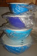 NIP TUPPERWARE 4 PC.THATSA MIXING BOWLS,NESTING,32,19,12 & 6 CUPS, BLUES, PURPLE