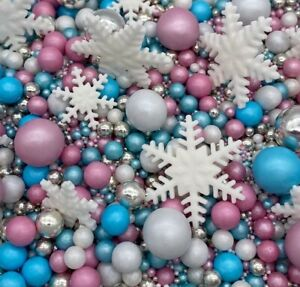 WINTER ICE & SNOWFLAKES CHRISTMAS CAKE DECORATIONS TOPPERS SPRINKLES CAKESICLES