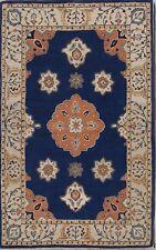 Hand-Tufted Room Size Navy Blue Geometric Oushak Oriental Area Rug Wool 5'x8'