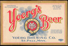 Yoerg's Beer Gold Border Label 24oz Irtp St Paul Minnesota 1930s