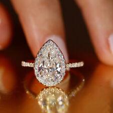 Women Elegant 925 Silver Rings Pear Cut White Sapphire Wedding Ring Size 6-10
