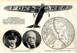 Fokker-Eindecker m.d.amerikanische Fliegeroffizier Byrd d.Nordpol erreichte 1926