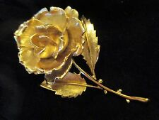 SALE! Monet 1970's Vintage Golden Rose Brooch, Flower, Stem Thorns, Leaves