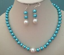 8MM White blue  South Sea Shell Pearl necklace earrings set AAA Grade  V21