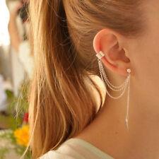 Charm Women Silver Leaf Tassels Cartilage Ear Clip Punk Rock Stud Earrings