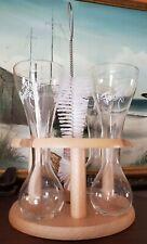 4 Pauwel Kwak Belgian Brewery Beer glass wood stand 1/4 yard Brush
