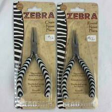 BeadSmith® Zebra Round Nose & Chain Nose Pliers double spring Jewelry Tools 2pc
