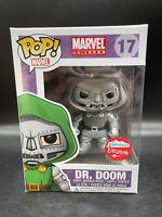 Funko Pop! Dr Doom Fugitive Toys Exclusive Black And White Marvel W/ Hard Stack