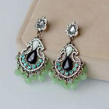 orecchini A perno Goccia Nero Candeliere Tassel Verde Art Deco Retrò X9