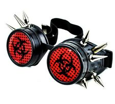 Black Red Bio Hazard Industrial Spike Goggles Cosplay Cyber Anime Zombie Hunter