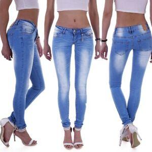 Damen Jeans Röhrenjeans Röhre Stretch Skinny Rise Hose Low Waist Hüftjeans M57