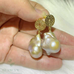 Multi-color Baroque Pearl Earring 18k Ear Drop Dangle Natural Jewelry Party