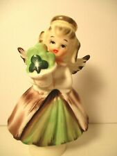 Vintage St. Patricks Girl Angel w/Shamrocks Figurine • Lefton • Napco~large eyes