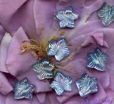8 VINTAGE Art GLASS JEWELS Blue IRIS Leaf leaves Feather Flower Cabochon Lot