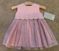 Baby Girl's Mamas & Papas Broidery Organza Dress Pink RRP £39 New !